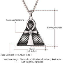 Load image into Gallery viewer, GUNGNEER Pyramid Ankh Egyptian Cross Pendant Necklace Spinner Ring Stainless Steel Jewelry Set