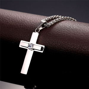 GUNGNEER God Christian Pendant Necklace Jesus Cross Jewelry Accessory Gift For Men Women