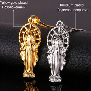 GUNGNEER Religious Mother Virgin Mary Pendant Necklace Stainless Steel Jewelry Men Women