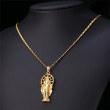 Load image into Gallery viewer, GUNGNEER Religious Mother Virgin Mary Pendant Necklace Stainless Steel Jewelry Men Women
