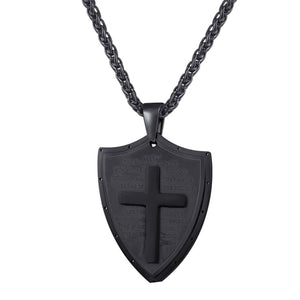 GUNGNEER Shield Christian Necklace Cross Jesus Pendant Jewelry Accessory Gift For Men Women
