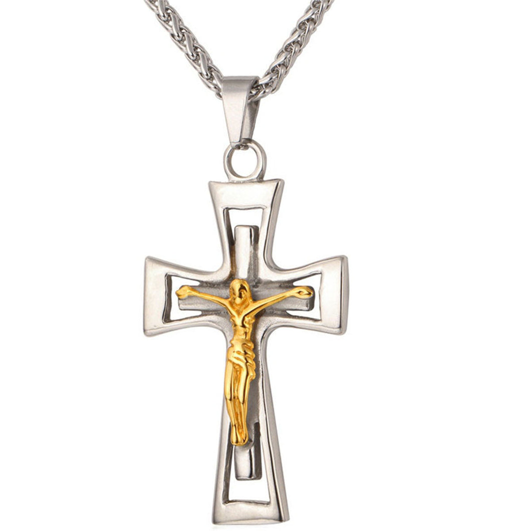 GUNGNEER Christian Cross Necklace Stainless Steel God Chain Jewelry Accessory For Men Women