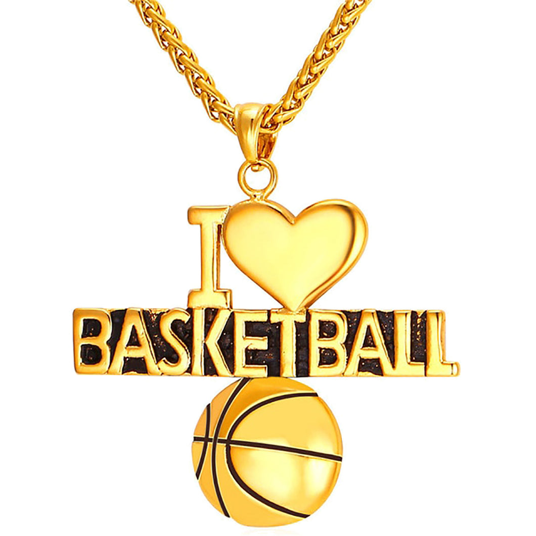 GUNGNEER I Love Basketball Necklace Stainless Steel Sports Chain Jewelry For Boys Girls