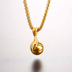 GUNGNEER Stainless Steel Basketball Necklace Hip Hop Sports Chain Jewelry For Boys Girls