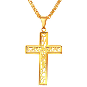GUNGNEER Christian Necklace Stainless Steel Cross Chain Jewelry Accessory For Men Women