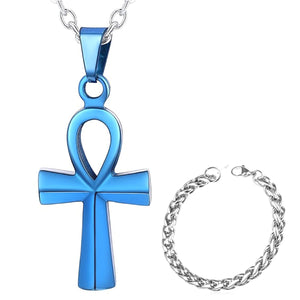 GUNGNEER Egyptian Ankh Crucifix Stainless Steel Necklace Link Chain Bracelet Jewelry Set