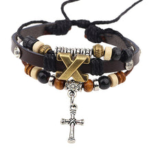 Load image into Gallery viewer, GUNGNEER Christian Cross Bracelet Leather Wooden Christ Jewelry Accessory For Men Women