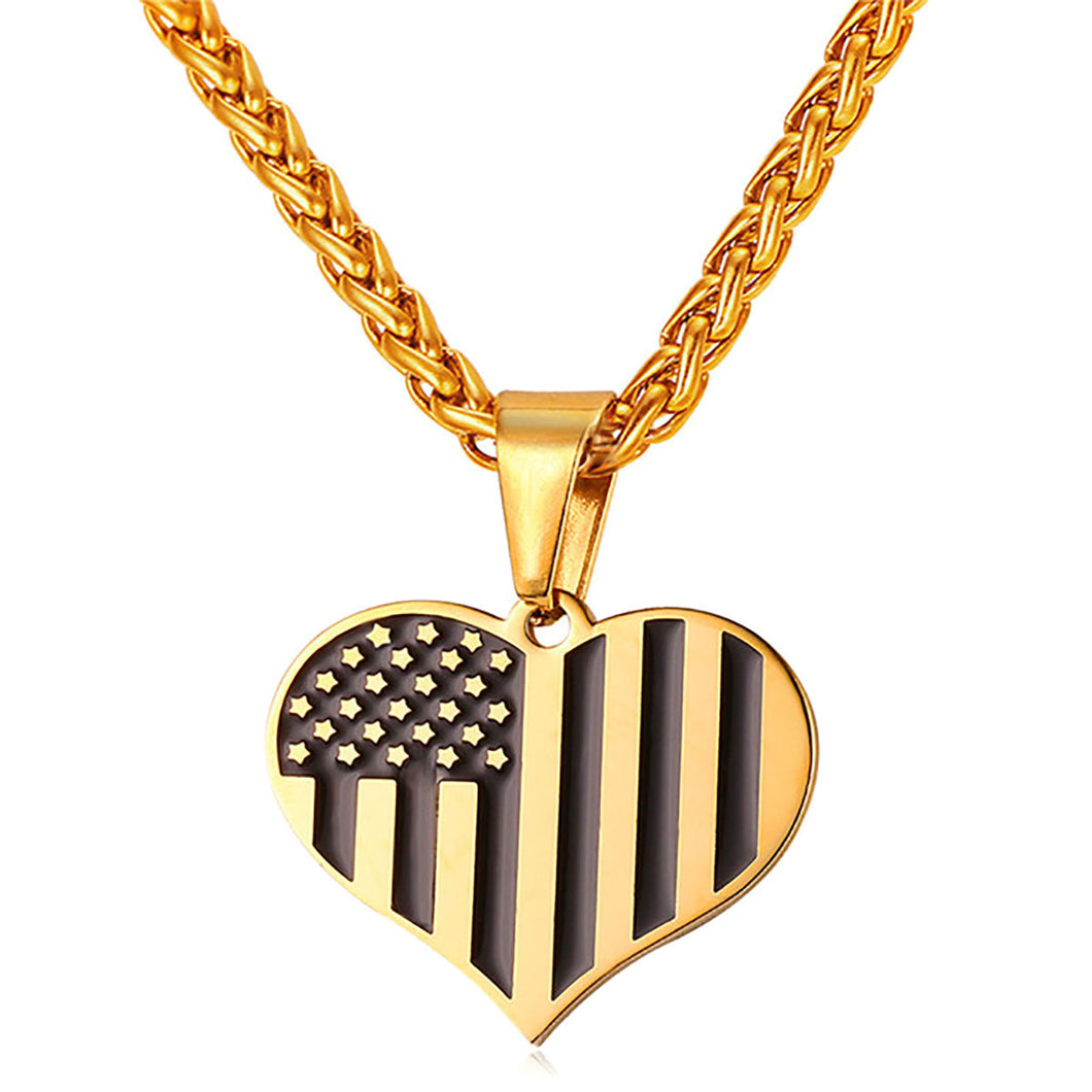 GUNGNEER Stainless Steel US American Flag Heart Shape Pendant Necklace Jewelry Accessories