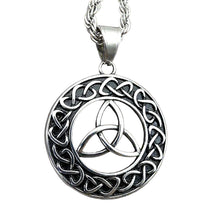Load image into Gallery viewer, ENXICO Trinity Celtic Knot with Sailor's Knot Circle Pendant Necklace ? 316L Stainless Steel ? Irish Celtic Jewelry