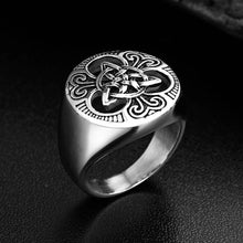 Load image into Gallery viewer, GUNGNEER Celtic Irish Triquetra Trinity Knot Punk Ring Stainless Steel Jewelry
