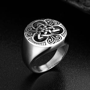 GUNGNEER Celtic Irish Triquetra Trinity Knot Punk Ring Stainless Steel Jewelry