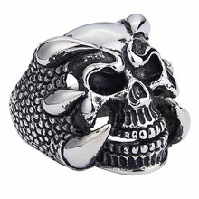 Load image into Gallery viewer, GUNGNEER Skull Skeleton Pendant Necklace Dragon Claw Ring Stainless Steel Biker Jewelry Set