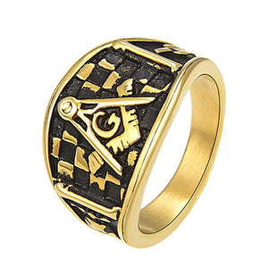 GUNGNEER Multicolor Masonic Ring Multi-size Stainless Steel Mason Biker Ring Jewelry For Men