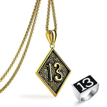 Load image into Gallery viewer, GUNGNEER Vintage Lucky Number 13 Pendant Necklace Ring Stainless Steel Punk Biker Jewelry Set