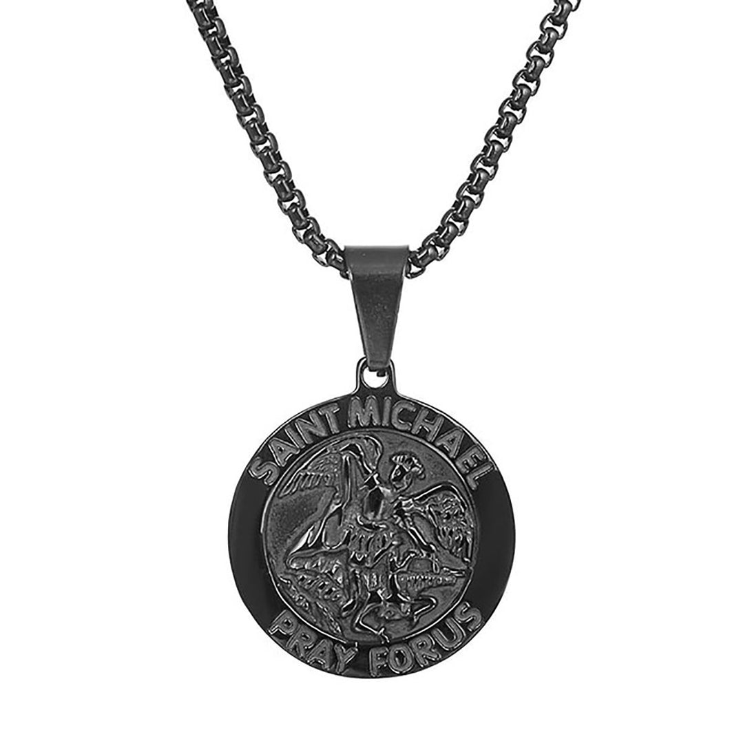 GUNGNEER Protect Us St Michael Necklace Stainless Steel Pendant Jewelry For Men Women
