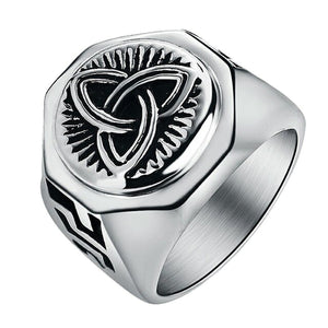 GUNGNEER Celtic Triquetra Knot Ring with Bracelet Amulet Stainless Steel Jewelry Set Men Women
