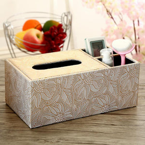 2TRIDENTS Tissue Box Cover Home Car Desk Organizer Holder Makeup Cosmetic Storage Box Napkin Paper Container Floral Room (1)