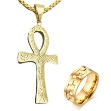Load image into Gallery viewer, GUNGNEER Stainless Steel Egyptian Ankh Cross Chain Necklace Round Spinner Ring Jewelry Set