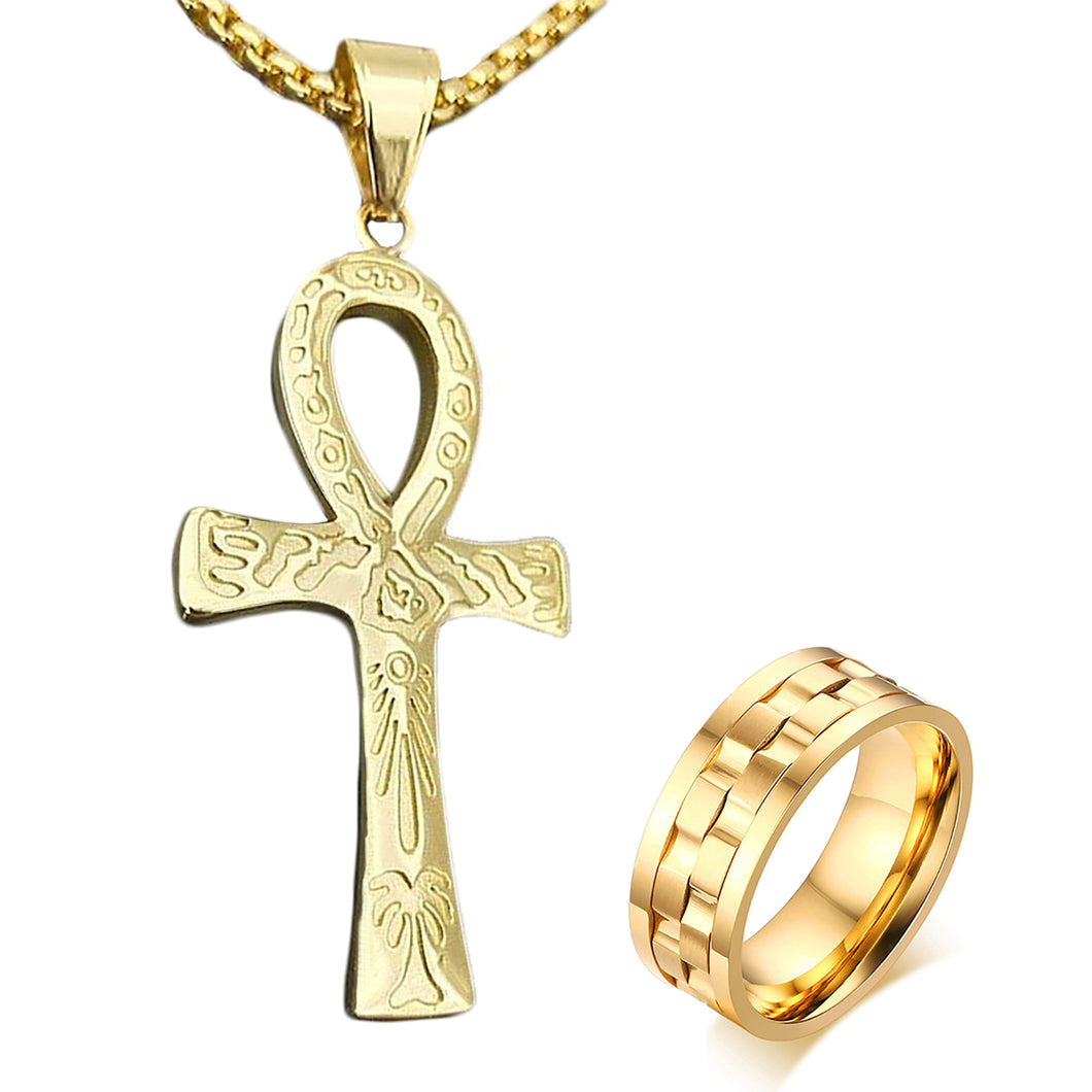 GUNGNEER Stainless Steel Egyptian Ankh Cross Chain Necklace Round Spinner Ring Jewelry Set