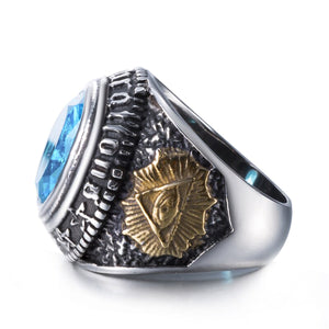GUNGNEER Eye of Providence Ring Biker Signet Eye Jewelry Accessories For Men