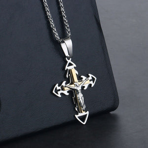 GUNGNEER Cross Necklace Christian Pendant Pray Jewelry Accessory Outfit For Men Women