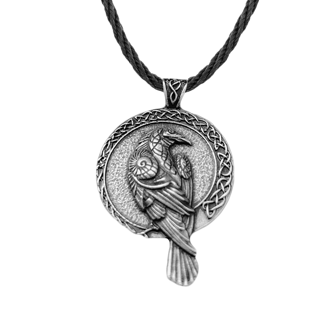 GUNGNEER Celtic Knot Viking Raven Pendant Necklace Rope Chain Jewelry Accessories for Men Women