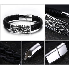 Load image into Gallery viewer, GUNGNEER Freemasons Bracelet Black Genuine Leather Masonic Symbol Magnetic Buckle For Men