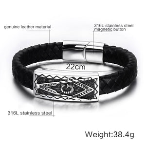 GUNGNEER Freemasons Bracelet Black Genuine Leather Masonic Symbol Magnetic Buckle For Men