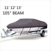 Load image into Gallery viewer, 2TRIDENTS Waterproof 210D Grey Boat Cover - 11 12 13 FT Beam 105 inch - Protection for Challenging Marine Environments
