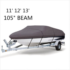 2TRIDENTS Waterproof 210D Grey Boat Cover - 11 12 13 FT Beam 105 inch - Protection for Challenging Marine Environments