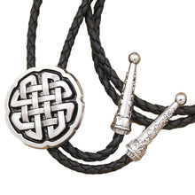 Load image into Gallery viewer, GUNGNEER Celtic Trinity Cross Knot Leather Bolo Tie Wedding Necktie Gravata Accessory Men Women