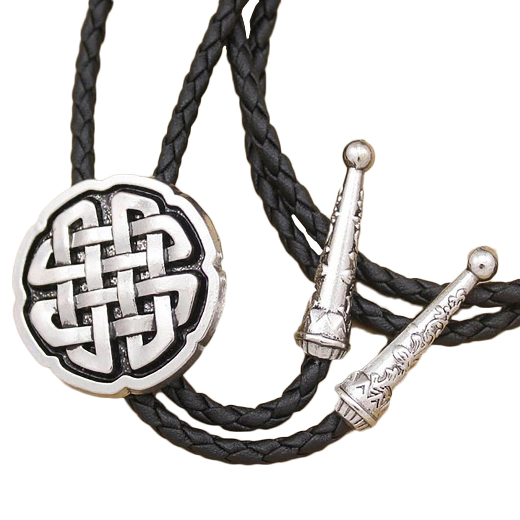 GUNGNEER Celtic Trinity Cross Knot Leather Bolo Tie Wedding Necktie Gravata Accessory Men Women