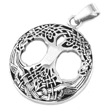 Load image into Gallery viewer, GUNGNEER Celtic Tree of Life Pendant Necklace Stainless Steel Bead Chain Jewelry for Men Women