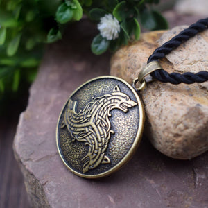GUNGNEER Celtic Triskele Viking Wolf Amulet Pendant Necklace Stainless Steel Jewelry Men Women