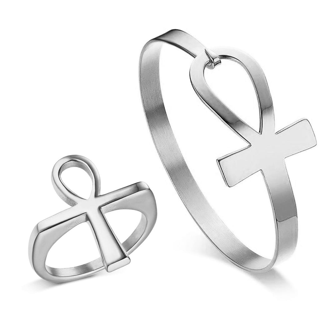 GUNGNEER Stainless Steel Ankh Cross Key Of Life Egypt Cuff Bracelet Ring Jewelry Set