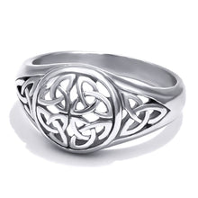 Load image into Gallery viewer, GUNGNEER Celtic Knot Triquetra Stainless Steel Ring Silvertone Bracelet Jewelry Set Men Women