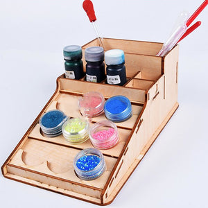 2TRIDENTS Paint Bottle Rack Storage Organizer Wooden Color Storage Cage Jewelry Makeup Supplies Organizer