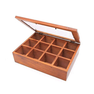 2TRIDENTS 12 Adjustable Chest Compartments Wooden Multifunctional Storage Box with Glass - Organizer Tray for Crafts,Flowers, Plants, Jewelry and More