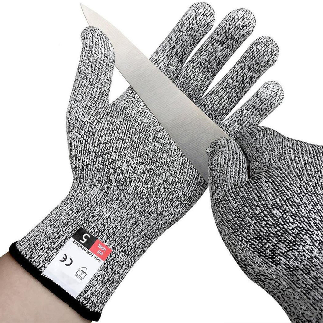 2TRIDENTS Cut Resistant Gloves Ideal for Woodworking Fish Filletting Meat Cutting Food Grade Protection (L, Black Gray)