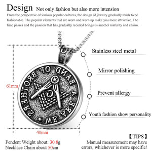 GUNGNEER Vintage Masonic Pendant Necklace Stainless Steel Freemasonry Accessories For Men