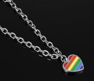 GUNGNEER Stainless Steel Rainbow Heart Bracelet Bangle LGBT Gay Jewelry For Men Women