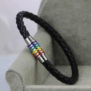 GUNGNEER LGBT Pride Bracelet Rope Chain Stainless Steel Gay Rainbow Jewelry For Men Women