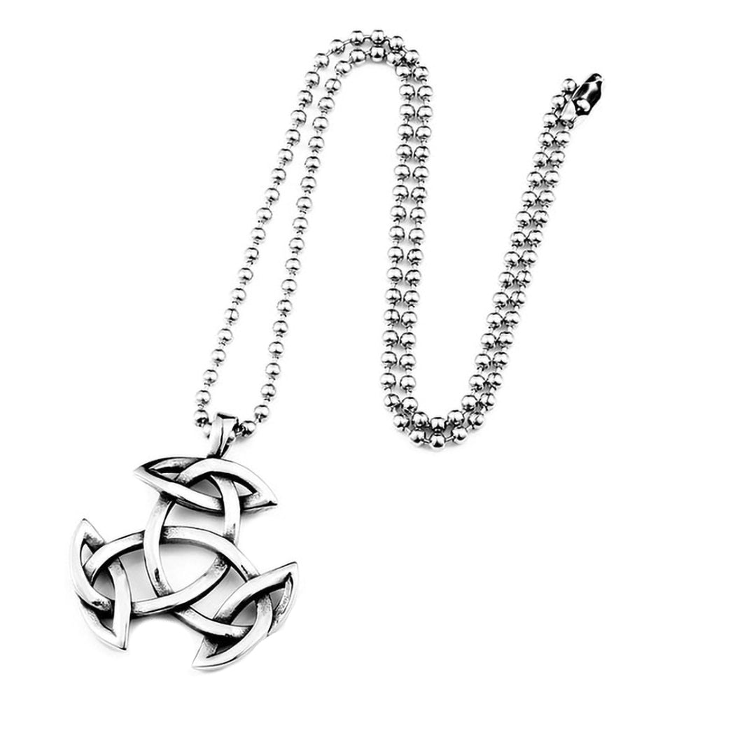GUNGNEER Celtic Knot Triquetra Irish Trinity Pendant Necklace Stainless Steel Jewelry Men Women