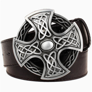 GUNGNEER Leather Celtic Knot Cross Trinity Bucket Belt Jewelry Accessories for Men Women