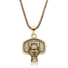 Load image into Gallery viewer, GUNGNEER Basketball Necklace Stainless Steel Rim Pendant Chain Jewelry For Boys Girls