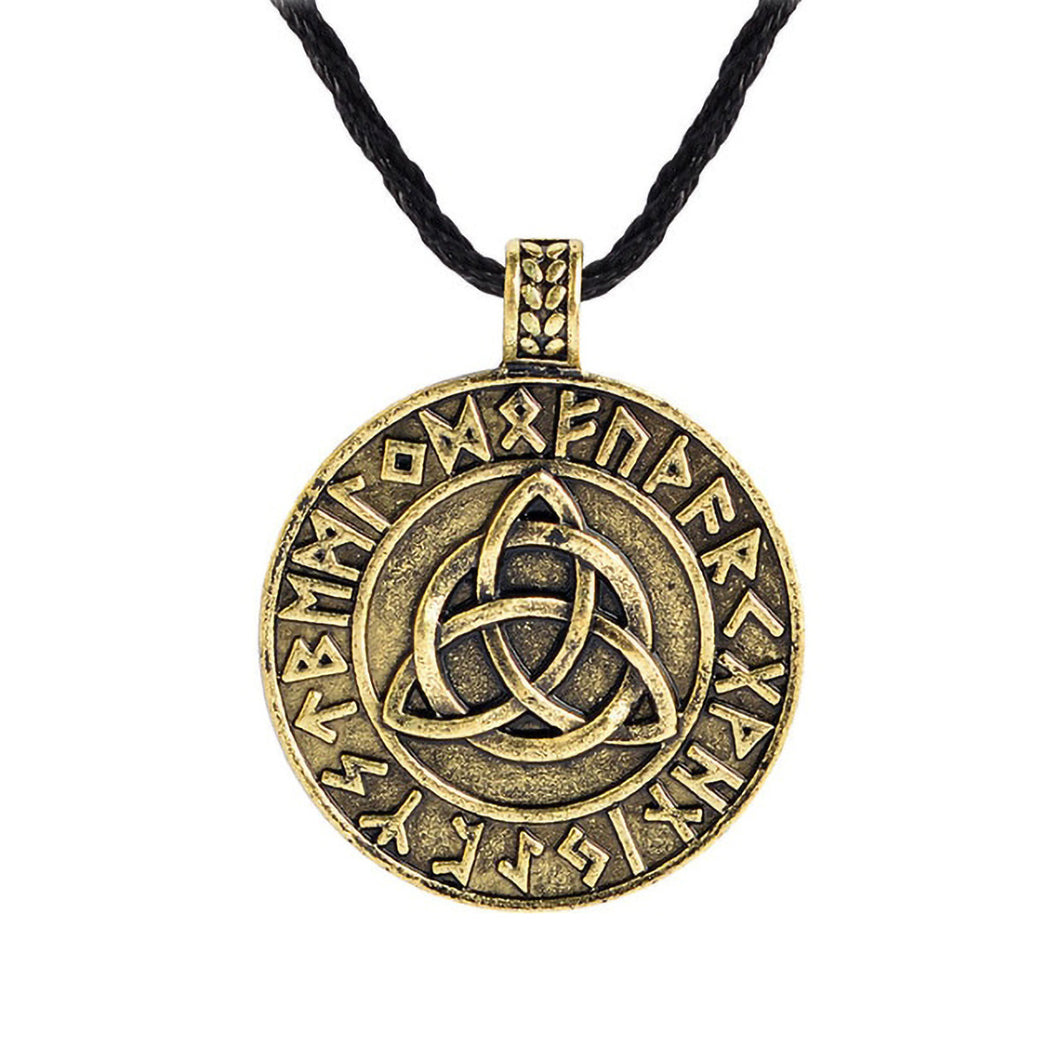 GUNGNEER Celtic Triquetra Knots Viking Runes Trinity Pendant Necklace Stainless Steel Jewelry