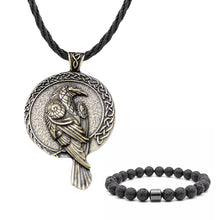 Load image into Gallery viewer, GUNGNEER Celtic Knot Viking Raven Pendant Necklace Beaded Bracelet Jewelry Set Men Women