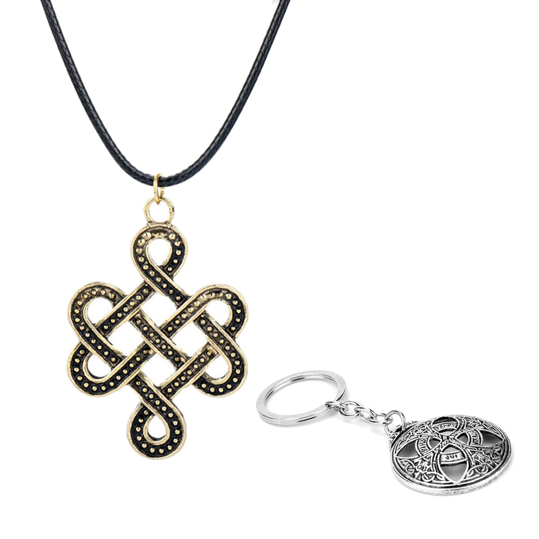 GUNGNEER Celtic Knot Irish Infinite Scandinavian Pendant Necklace Cross Key Chain Jewelry Set