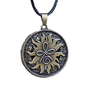 GUNGNEER Round Celtic Knot Symbol Strength Pendant Necklace Stainless Steel Jewelry Men Women