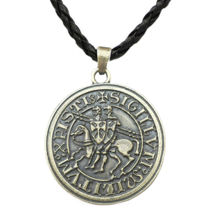 GUNGNEER Knights Templar Necklace Seal Pendant Necklace Christian Bracelet Jewelry Set